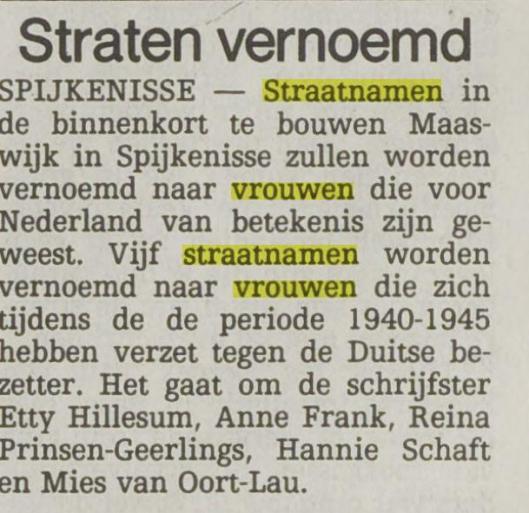 Straten vernoemd naar vrouwen in Spijkenisse (Het Vrije Volk van 26-11-1993)