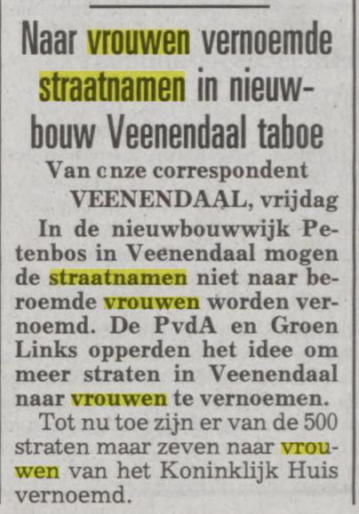 Geen vrouwenwijk gewenst in Veenendaal (De Telegraaf, 26-11-1993)