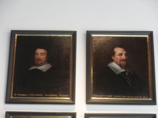 Portretten van de Hollandse gezanten in Munster, links Johannes van Matenesse en rechts Adriaan Pauw, door Anselmus van Hulle. Vredeszaal Munster