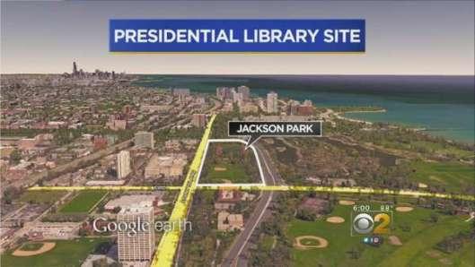 Situering van de geplande Barack Obama Presidential Library in Chicago