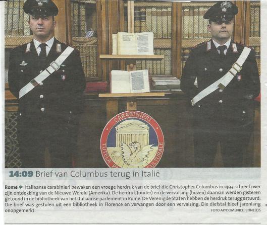 Columbus terug in Rome (Haarlems Dagblad)