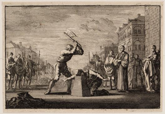 Gravure van de onthoofding van koning Karel 1 in 1649