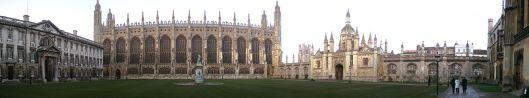 Gezicht op de universiteit van Cambridge waarvan de meeste gebouwen o.a. de bibliotheek zijn ontworpen door de befaamde architect Christopher Wren