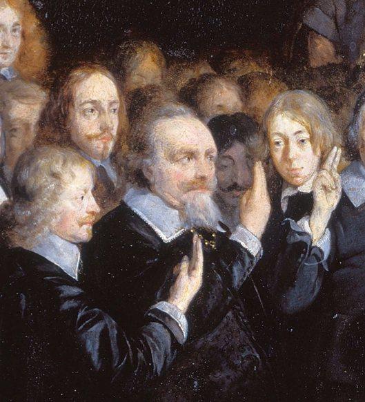 Uitsnede schilderij de Vrede van Munster, 1648 door Gerard ter Borch, met van links naar rechts Joh. Clant (namens Groningen), Adriaan Pauw (namens Holland) en rechts secretaris van het gezantschap Gerard van Kinschot