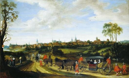 De intocht in Münster van Adriaan Pauw met zijn echtgenote Anna van Ruytenburgh en kleindochter (vermoedelijk de toen 15-jarige Anna van zijn zoin Reynier) in een staatsiekaros bespannen met zes paarden. Zij worden begeleid door een gevolg van in het rood gestoken lakeien en lijfwachten. Schilderij van Gerard ter Borch, 1646 (Westfälisches Landesmuseum für Kunst und Kulturgeschichte Münster, Stadtmuseum