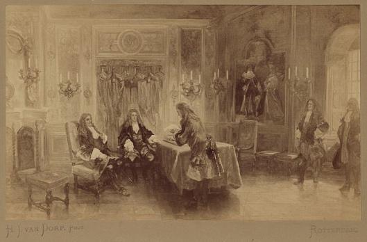 Audiëntie van Adriaan Pauw bij de Grote Keurvorst van Brandenburg in 1618. In een zaal in Louis XIV-stijl zitten de keurvorst en de ambassadeur. De secretaris van het gezantschap leest de brief van de Staten-Generaal (Atlas van Stolk)