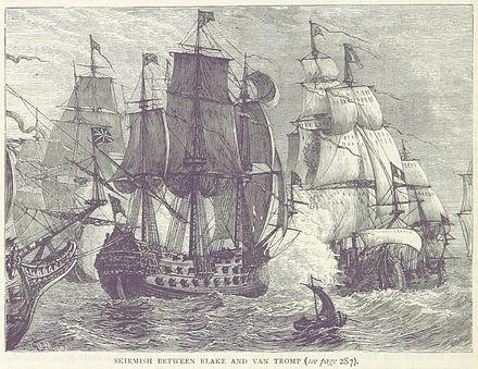 De Britse schpen onder leiding van admiraal Blake vuren naar het schip de Brederode van de Hollandse admiraal Maarten Harpertszoon Tromp