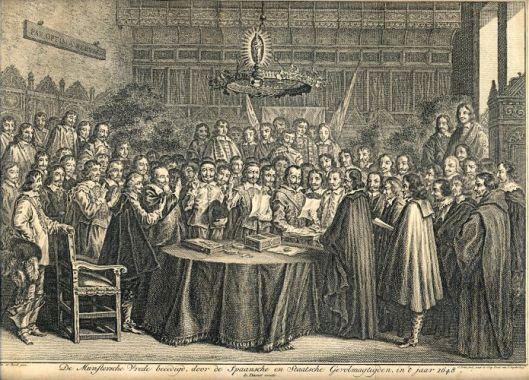 Gravure van de ratificatie Vrede van Munster door Jonas Suyderhoef naar het schilderij van Gerard ter Borch