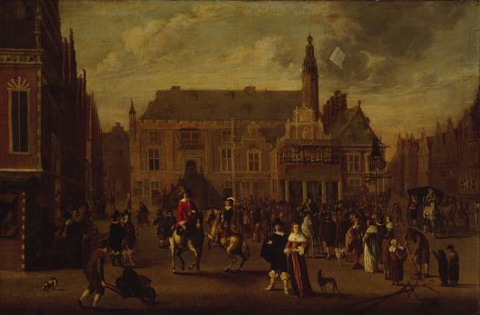 Viering van de Vrede van Munster op de Grote Markt voor het stadhuis in Haarlem door Cornelis Beelt, 1648