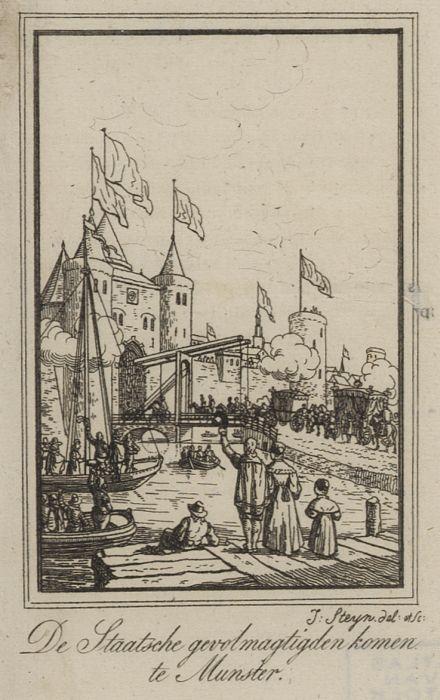 De Stastse gevolmachtigden arriveren in Munster. Gravure door Johannes Steyn uit 1835