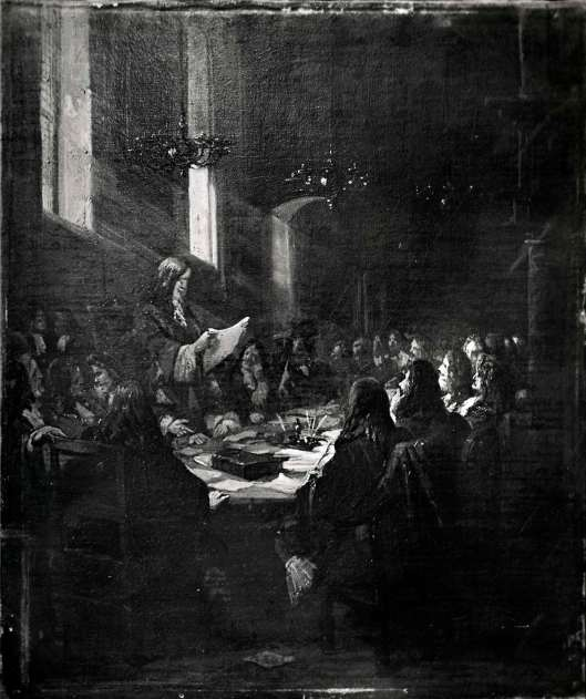 Schilderij van de Vrede van Munster door B.Wijnveld jr. (1820-1902)