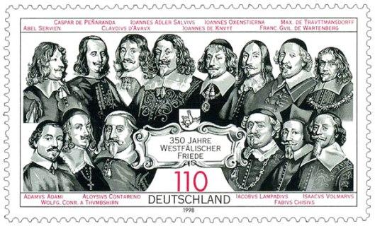 In 1998 door de Duitse Posterijen uitgegeven postzegel bij gelegenheid van 350 jaar Westfälische Friede met een selectie van de gezanten, o.a. uit Nederland de Zeeuw J. de Knuyt.