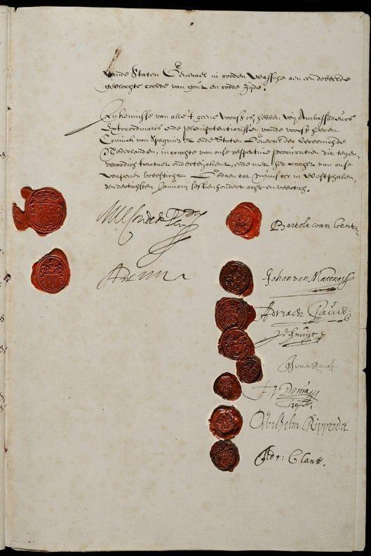 Het ondertekende vredestractaat (in Nationaal Archief Den Haag)
