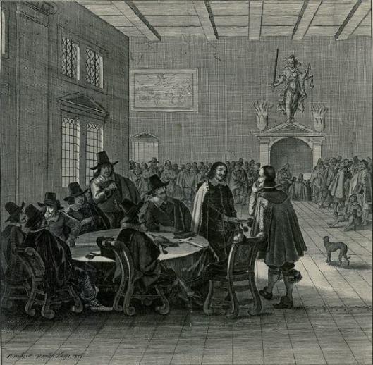 Gravure van de Nederlandse gezanten in overleg