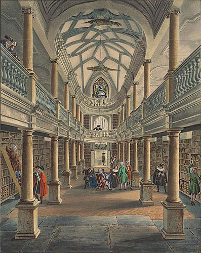 Gravure van de vroegere stadsbibliotheek in de 'Wasserkirche' Zürich