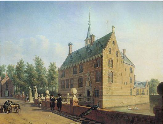 Het Huis te Heemstede nar het schilderij van G.A.Berckheyde (1630-1695) in de periode dat Gerard Pauw, zoon van Adriaan Pauw eigenaar en Heer van Heemstede was