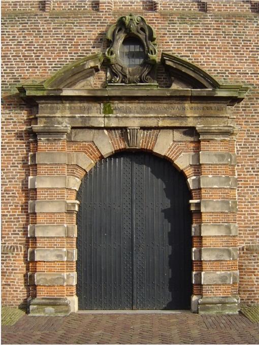 De Renaissancepoort naar de toren van de Oude Kerk in Beverwijk, in 1631 gebouwd
