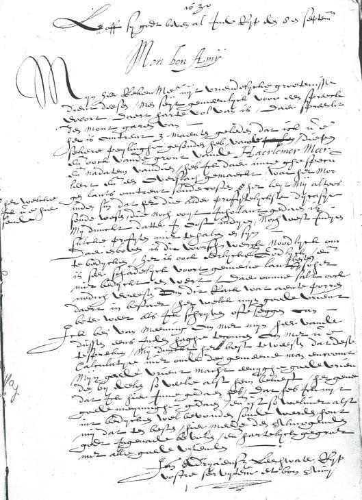 Schrijven van Leeghater aan Adriaan Pauw. De aanhef 'Bon Amy' wijst op de goede verstandhouding tussen beiden (Heerlijkheidsarchief Heemstede)