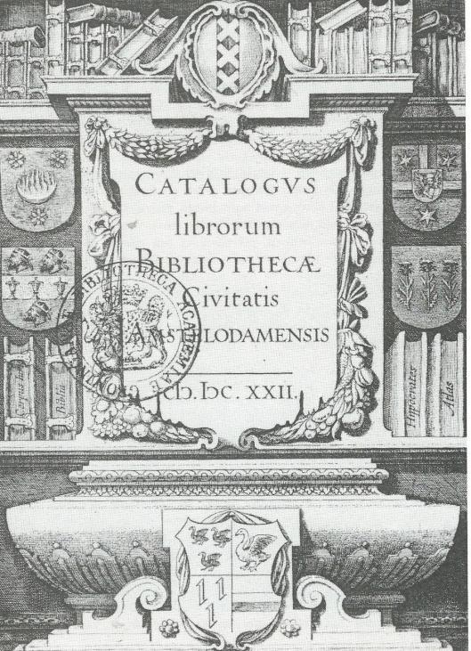 Voorzijde atalogus van de stadsbibliotheek van Amsterdam uit 1622, samengesteld door bibliothecaris Mattheus Sladus. In het midden boven het stadwapen en in de rechterkolom boven het geslachtswapen van Michiel Pauw, schepen van Amsterdam en curator van de bibliotheek