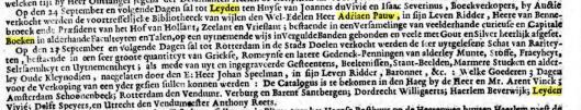 Over veiling nagelaten bibliotheek van Adriaan Pauw jr.. Uit: Opr. Haerlemsche Courant van 13 augustus 1697