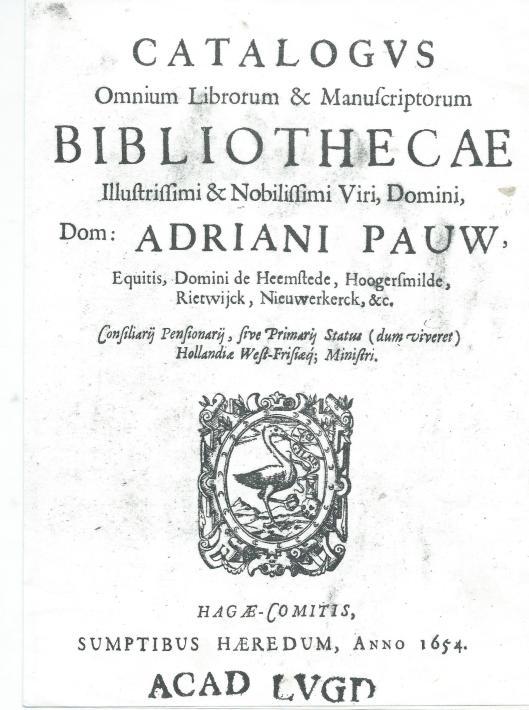 Titelblad van de catalogus A.Pauw van 1654 (UB-Amsterdam)