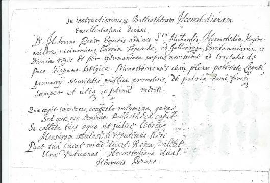 Henricus Bruno's tekst op de Bibliotheca Heemstediana