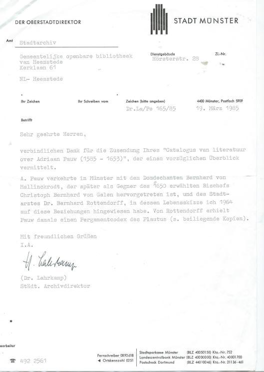 Schrijven van dr.G.Lahrkamp, stadsarchivaris van Munster de dato 19 maart 1985