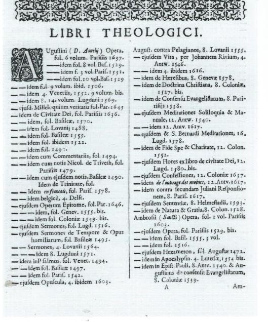 Eerste pagina van de rubriek 'Libri Theologici' in de Pauw-catalogus van 1654