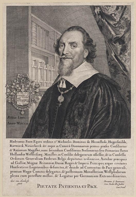P.Soutmann en Cornelis Visscher: gravure van Adriaan Pauw in zijn bibliotheek met de boeken naar de gewoonte van die tijd met de snede naar voren geplaatst, naar een schilderij van Gerard van Honthorst uit 1647