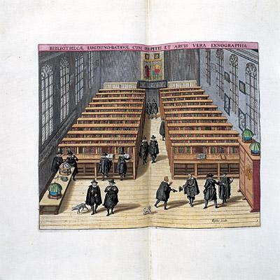 Ingekleurde prent van A.Woudanus van de Academiebibliotheek in Leiden met aan de wand het prospect van Constantinopel door Lorich