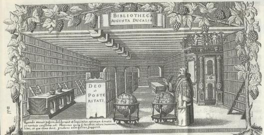 Gravure van Hertog August in zijn bibliotheek in Wolfenbüttel