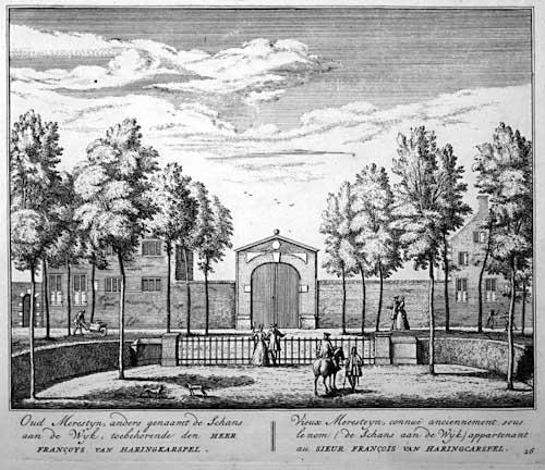 Vooraanzicht naar hofstede de Schans, waar Nicolaas Pauw ban1630-1640 woonde; op een gravure door Hendrik de Leth
