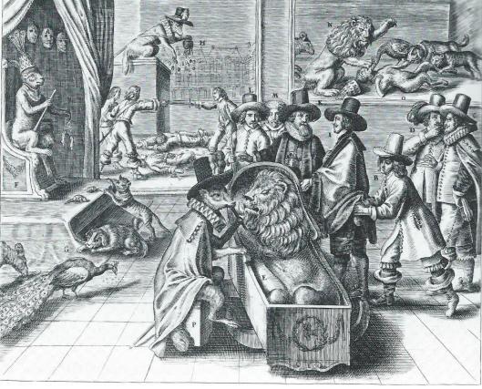 """Spotprent op Engeland: 'De gehoonde Vryhey'. Zinneprent op Cromwell en zijn daden. De Hollandse Leeuw ligt in een houten kist, in slaap gesust door een (Spaanse) Renaard. De Hollandse ambassadeurs zijn Kacob Cats, Paulus van de Perre, Adriaan Pauw en Gerard Schaap, als dieren: kat, hond, apuw en schaap, afgebeeld, daar """"sekere Duytser seyde doen ter tijt: Hebben de Staten geen ander stof als datse sucke Dieren na Engeland senden (die noerende daer mede, dat alle haer Toe-namen Beesten waren' (Rijksmuseum Amsterdam)"""