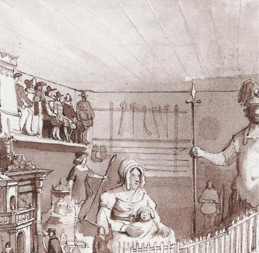Detail uit Beeldenzaal in het Oude Doolhof van Amsterdam met wapenverzameling. Pentekening van Willem Hekking jr.