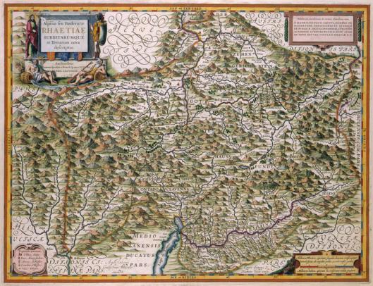 In de Atlas Maior van Blaeu is de kaart van Zwitserland en de Alpen opgedragen aan Hadrianus Pauw