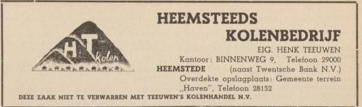 Heemsteeds Kolenbedrijf van Gerrit Teeuwen (Adresboek Haarlem, 1949)