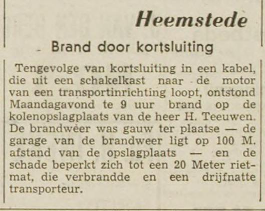 Bericht van een brand bij Teeuwen (Haarlems Dagblad 15 juni 1948)