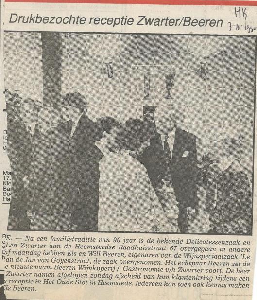 Receptie Zwarter/Beeren in Groenendaal.  Bericht uit de Heemsteedse Koerier van 30 oktober 1990.