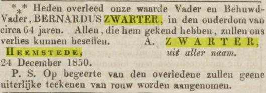 Bericht van overlijden Bernardus (Barent) Zwarter uit de Opr. Haerlemsche Courant van 28 december 1850