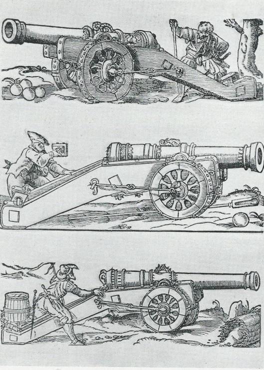 Geschut stukken uit de 17de eeuw. De Hollandse troepen beschikten over slechts 7 stukken.