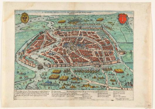 Beleg van Haarlem met het zuiden boven C.Decker fecit 17e eeuw