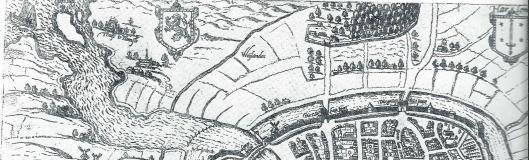 Uitsmede kaart van Haarlem door Braun met linksboven het slot van Heemstede en rechts de Haarlemmerhout
