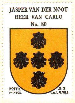 Het geslachtswapen van Van der Noot, heer Van Carloo