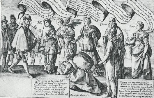 Zinneprent op de smeekbeden van Haarlem aan de Prons om de stad te verlossen van de Spaanse bezetters. Gravure door H.Goltzius, 1580