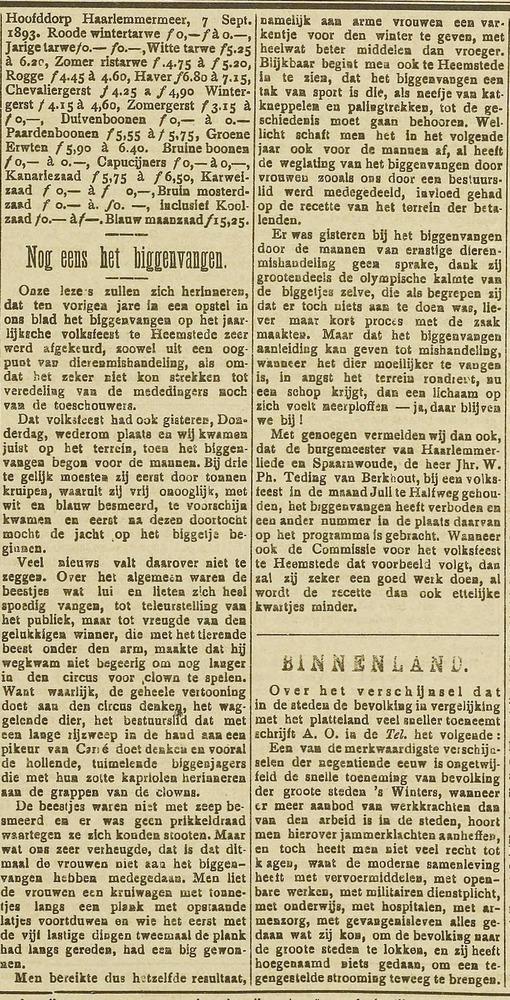Biggenvangen,. Uit: Haarlem's Dagblad, 9-9-1893