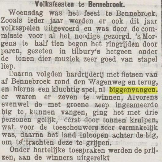 Biggenvangen in Bennebroek. Uit: Nieuwe Tilburgsche Courant 22-7-1904
