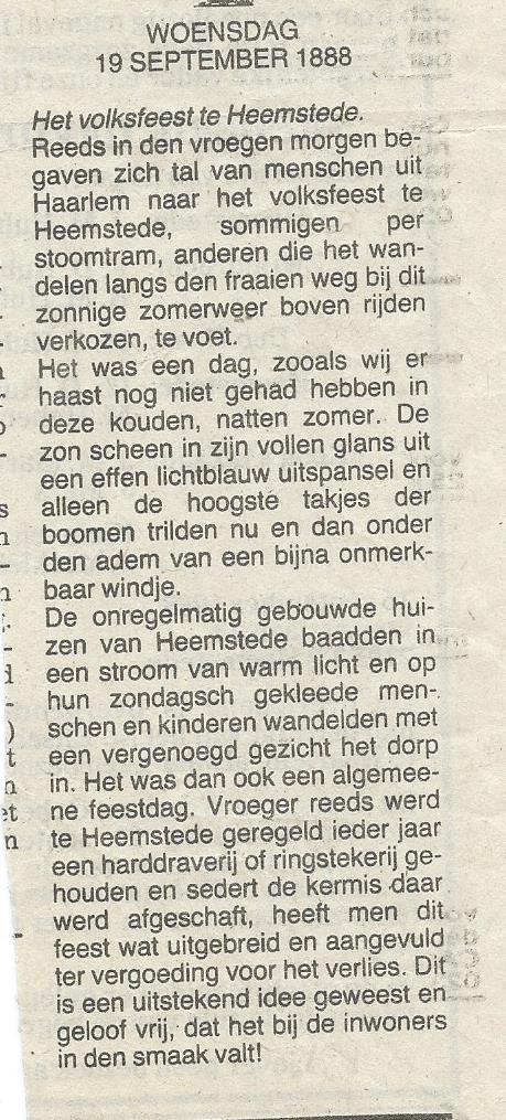 Verslag van volksfeest het biggenvangen te Heemstede in het Haarlems Dagblad van 19 september 1988