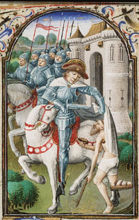 Sint Maarten van Tours deelt zijn mantel aan een bedelaar. Miniatuur uit een Getijdenboek, Parijs, meester van Jean Rolin, circa 1455. (Koninklijke Bibliotheek Den Haag)