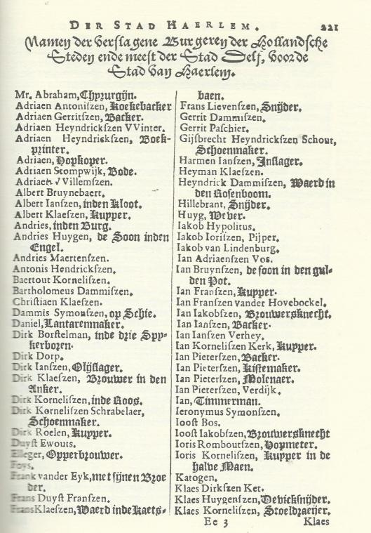 Deel van de lijst van gesneuvelde vrijwilligers in de strijd aangeduid met Manpad; gepubliceerd door Ampzing