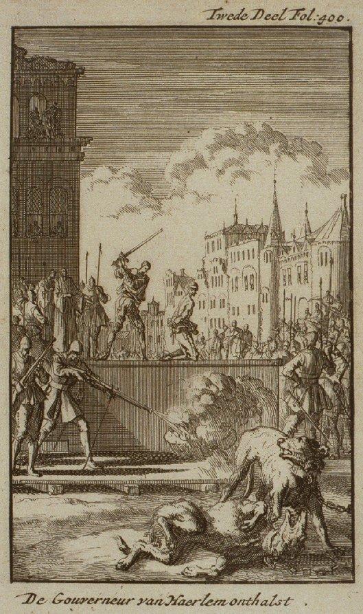Gravure van Wigbold Ripperda onthald op het schavot aan de Grote Markt in Haarlem